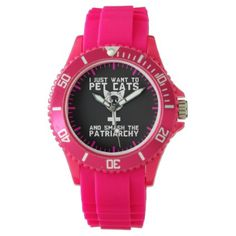 Pet Cats And Smash The Patriarchy - Funny Novelty Wrist Watch - cat cats kitten kitty pet love pussy