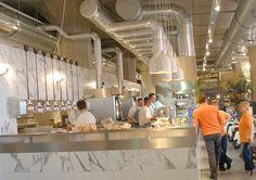 Silver and marble, sophisticated diner vibe. Restaurant Interior Design, Office Interior Design, Interior Decorating, Restaurant Interiors, Interior Ideas, Restaurant Kitchen, Restaurant Ideas, Counter Design, Modern House Design