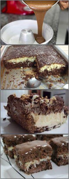 BOLO PRESTIGIO GELADO!! veja AQUI>>>Bata as gemas com o açúcar, coloque aos poucos o leite com a farinha de trigo, o chocolate e o fermento, por último as claras em #receita#bolo#torta#doce#sobremesa#aniversario#pudim#mousse#pave#Cheesecake#chocolate#confeitaria Cupcake Cookies, Cupcakes, How Sweet Eats, Fun Drinks, French Toast, Good Food, Food And Drink, Gluten, Breakfast