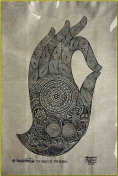 Thai traditional art of The Hand Of The Buddha by silkscreen printing on cotton. via Etsy. Buddha Kunst, Buddha Art, Hamsa, Buddha Tattoos, Thai Art, Mystique, Silk Screen Printing, Sacred Art, Hand Illustration
