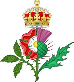 The Union of the Crowns was symbolised in James's personal heraldic badge after the Tudor rose dimidiated with the Scottish thistle ensigned by the royal crown. Royal Crowns, Crown Royal, The Crown, Tudor History, British History, Family History Book, Tudor Rose, Knight In Shining Armor, Scottish Thistle