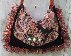 Gypsy Orange tapestry bag purse large black by CatzStitchedFantasy