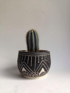 T U S C O N tribal stoneware planter by mbundy on Etsy