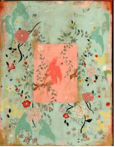 Acrylic and ink on frescoed canvas, each piece offers the beauty of an aged fresco panel.  Kathe has mastered a delicate Chinoiserie style, incorperating birds, flowers, vines and leaves into art that will take you away to the streets of Paris..