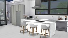 Modern kitchen kitchen. Suitable for small or medium sized houses or apartments. Click on the link for the list of CC objects used in this design.