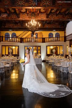 Pronovias bridal dress + tulips and roses in a yellow and gray bridal bouquet = Perfection  See more of this gorgeous wedding at Casa de España, Old San Juan, Puerto Rico here: http://camillefontz.com/?p=8728