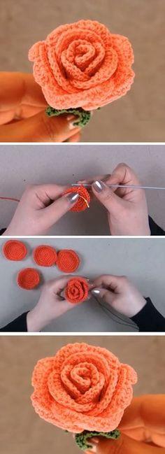 Crochet Rose Pattern by Happy Crochet Puff Flower, Knitted Flowers, Crochet Flower Patterns, Crochet Motif, Diy Crochet, Crochet Crafts, Yarn Crafts, Crochet Toys, Crochet Stitches
