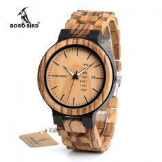 Discount Up to BOBO BIRD Antique Mens Zebra and Ebony Wood Watches with Date and Week Display Business Watch in Wooden Gift Box Wooden Man, Wooden Clock, Wooden Gift Boxes, Wooden Gifts, Handmade Wooden, Rolex Datejust, Smartwatch, Wooden Calendar, Cadeau Couple