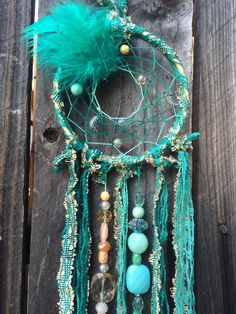 Dreamcatcher mint green coral & gold inspired by DreamBoheme