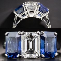 💥WHAT'S NEW?!💥 1.73 Carat Emerald-Cut Diamond and 2 No Heat Sapphires-Three-Stone Ring - 4.35ct. Total weight. GIA F VVS1 💙💎💙😍 #3stone #sapphire #emeraldcut #showmeyourrings