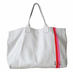 JAKE white leather tote with painted stripes & painted initials