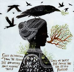 Madrones and Ravens 2012 giclee print on cotton rag archival paper measures 10 inches X 10 inches hand signed and numbered edition 46 Diana Sudyka Art Et Illustration, Illustrations, Diana, Andrew Bird, Chicago Artists, Rabe, Beautiful Book Covers, Artist Profile, Pics Art