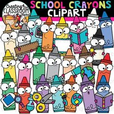 School Crayons Clipart {School Clipart} Vibrant and whimsical School Crayon Clipart is sure to add a pop to all of your back to school resources! There are a total of 52 images (26 in color and 26 bw)