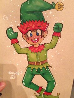 A drawing of Jingles the Elf- a holiday helper who makes sure you're being nice! Copic marker, copic fineliner, and gel pens on cardboard brown paper.