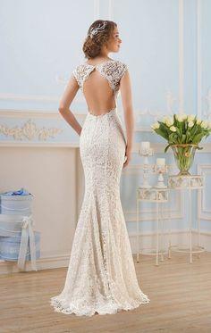 robe de mariée dos nu coupe sirène en dentelle fine