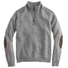 J.Crew | Tall rustic merino elbow-patch half-zip sweater #jcrew #tall #sweater