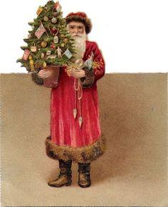 Oblaten Glanzbild scrap cut  Nikolaus  10,5cm santa father XMAS Weihnachtsmann