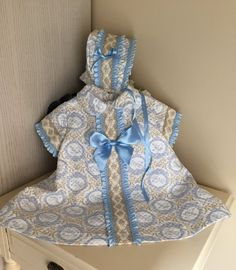 baby girl blue dress toddler bonnet matching dress  by pitufos