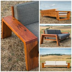 New range of indoor and outdoor exposed timber couches . Diy Furniture Couch, Diy Garden Furniture, Timber Furniture, Custom Furniture, Furniture Design, Couch Design, Bedroom Bed Design, Wooden Sofa Set, Wooden Diy