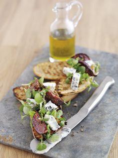 Figs, gorgonzola, mint & watercress bruschetta... yes, please. FOUR The World's Best Food Magazine :: Spring Recipes