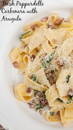 A lighter version of fresh pasta Carbonara that is not loaded with cream. Who wouldnt love that!