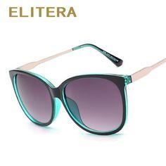 Elitera 2017 mujeres de lujo de sol redondo de la manera de las señoras retro vintage diseñador de la marca sport gafas de sol marea femenina de gran tamaño