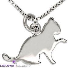 Grazioso ciondolo a forma di gatto in argento 925 bianco, la collana con gattino DEVIANTSILVER®  http://www.deviantsilver.com/love-cat-collana-argento-925-gioiello-con-gatto-ciondolo-gattino-p-313.html