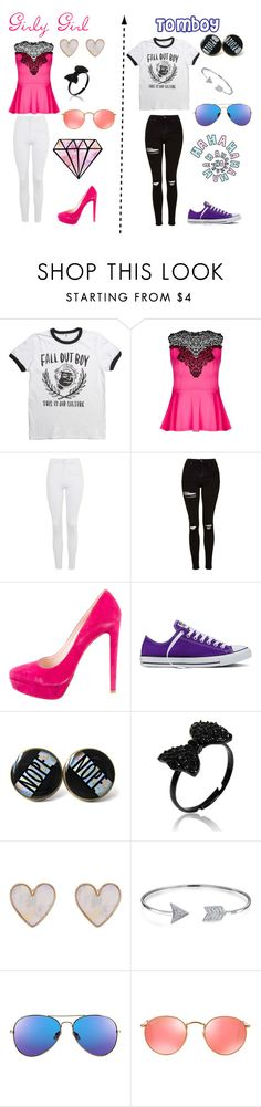 """""""Girly Girl vs Tomboy"""" by atomic-curly-fries ❤ liked on Polyvore featuring City Chic, Topshop, Miu Miu, Converse, New Look, Bling Jewelry and Ray-Ban"""