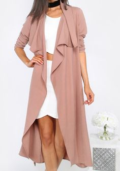 Simple yet stylish, featuring with belt and irregular turndown collar design, this pink trench coat is perfect for the coming season. Get one for your wardrobe at Fichic.com!