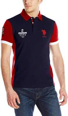 a9624fa22cc7 Men's Color Block Slim Fit Pique Polo Shirt Embroidery and appliqued logos  on chest and sleeve Straight hem with vent Slim fit