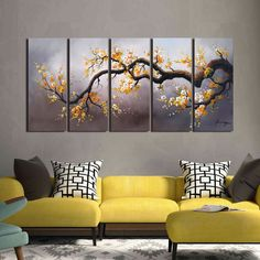 Shop 'Plum Blossom Hand Painted Gallery-wrapped Canvas Art Set - On Sale - Ships To Canada - Overstock - 5999684 Hand Painted Canvas, Canvas Wall Art, Picture Room Decor, Bed Cover Design, Classy Living Room, Living Room Canvas, Abstract Styles, Home Decor Wall Art, Diy Painting