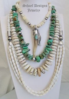 Schaef Designs deer antler pendant and necklace, large turquoise nugget necklace, & long off white agate multi strand necklace pairing | New Mexico