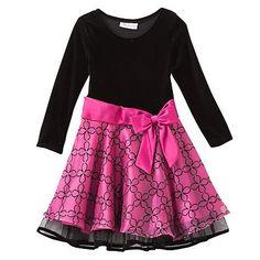 Bonnie Jean Flocked Floral Dress - Girls 4-6x