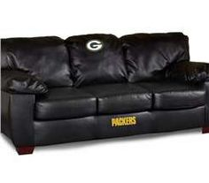 The Northwest Green Bay Packers Classic Leather Sofa, Man Room!