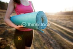 person walking with yoga mat - Google Search