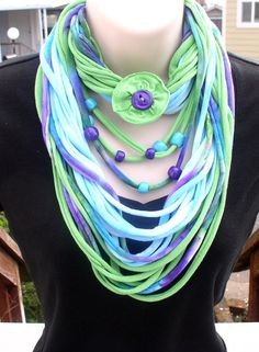 Infinity scarf, SPRING WILDFLOWERS, T-shirt scarf, and beaded necklace, set, tie dye, blue, green, purple, handmade solar cured beads