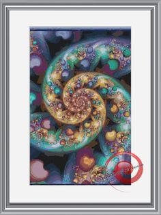 Rainbow Heart Swirl Fractal Cross Stitch Printable Needlework Pattern - DIY Crossstitch Chart, Relaxing Hobby, Instant Download PDF Design