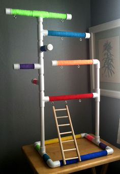 Rainbow Medium Tabletop Cagetop PVC Bird Gym Play Stand with Ladder Perches | eBay