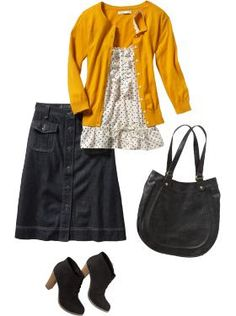 This would be a great school uniform outfit... I wonder if I could get away with wearing the denim skirt.