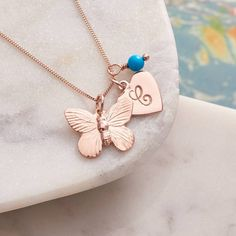 Claudette Worters Personalised Rose Gold Butterfly Necklace