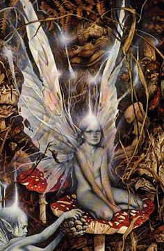 A detail from a faery painting by Brian Froud. Why are her wings so tattered. Sad.