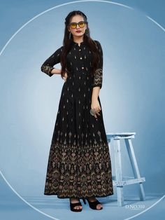 """Branded Foil Print Designer Long Kurti in Black , Fabric : Rayon Color : Black Size : M:38"""" 