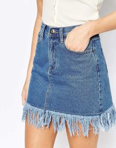 Boohoo Frayed Hem Denim Skirt