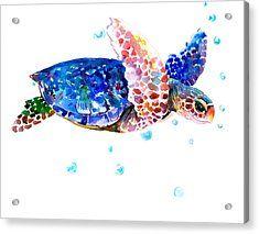 Blue Sea Turtle Acrylic Print by Suren Nersisyan