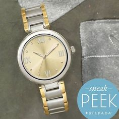 "This gorgeous two-tone watch has a smaller face than our larger ""boyfriend"" style watches. Just $179!"