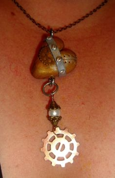 Steampunk necklace  Polymer clay necklace  by VictorianPunkJewelry, $25.00