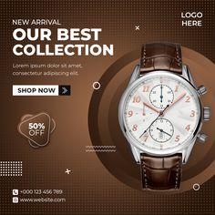 Graphic Design Personal Branding, Graphic Design Trends, Ad Design, Social Media Banner, Social Media Design, Product Banner, Sale Flyer, Modern Watches, Instagram Post Template