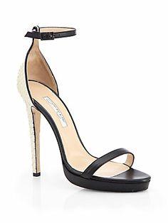 4261f72de48 Oscar de la Renta - Linda Snakeskin   Leather Sandals