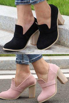 d1336cb6785 Stylish Round Toe Slip-On Chunky Heel Loafers