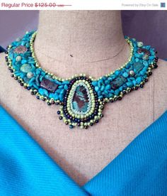 ON SALE Bead Embroidered Collar  Turquoise by bjswearableart, $75.00